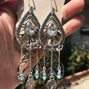 Hand Crafted Crystal & Leaf Chandelier Earrings